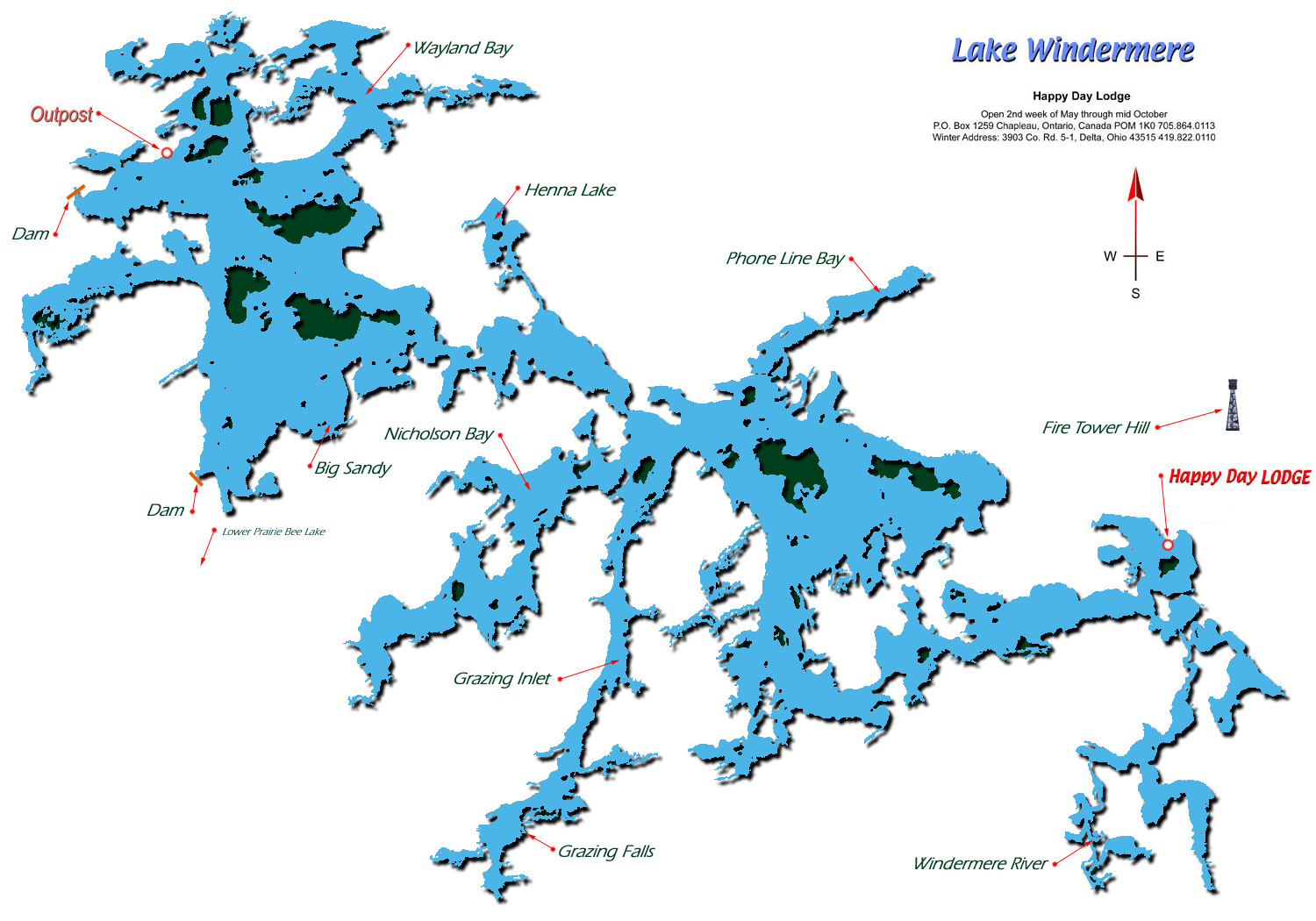 Map of Lake Windermere